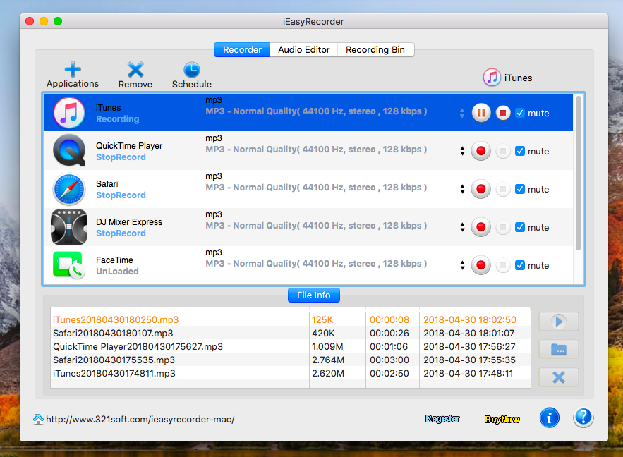 iEasyRecorder, Record audio, music from any application and website